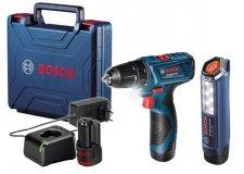 Дрель-шуруповерт Bosch GSR 120-LI Professional 06019G8004 (2 АКБ 2,0Ач, кейс, фонарь GLI 12V-300)